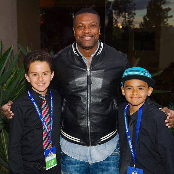 Chris With Kids From Young Warriors LA