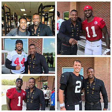 Assorted Images of Chris Tucker With Atlanta Falcons Players